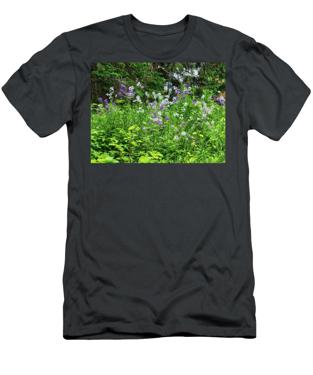 Flowers Men's T-Shirt (Athletic Fit) featuring the photograph Wildflowers On Green's Hills by Scott Hufford