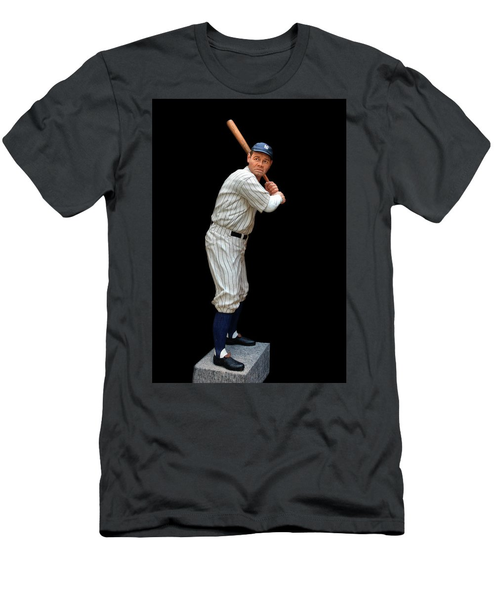 Coopertown Men's T-Shirt (Athletic Fit) featuring the photograph Wood Carving - Babe Ruth 001 by George Bostian