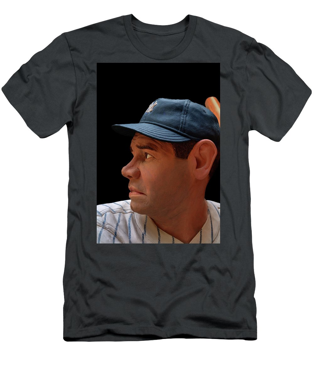 Baseball Men's T-Shirt (Athletic Fit) featuring the photograph Wood Carving - Babe Ruth 002 Profile by George Bostian
