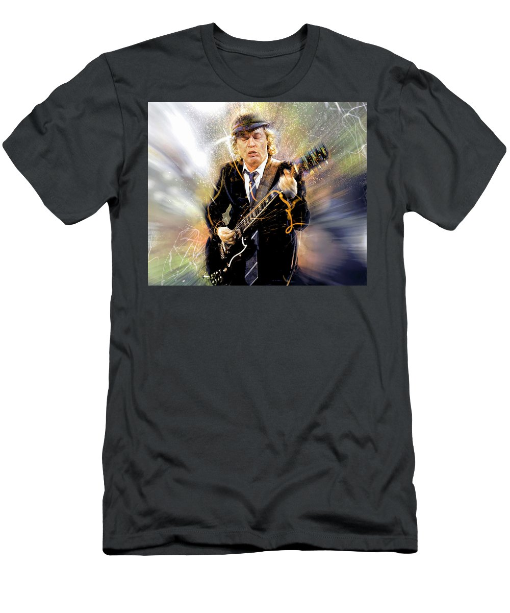 Angus Young T-Shirt featuring the digital art You've been thunderstruck by Mal Bray