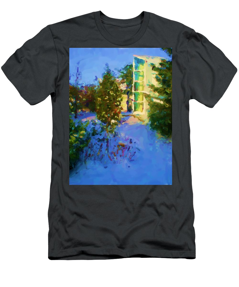 Hedensted T-Shirt featuring the mixed media Hedensted by Asbjorn Lonvig