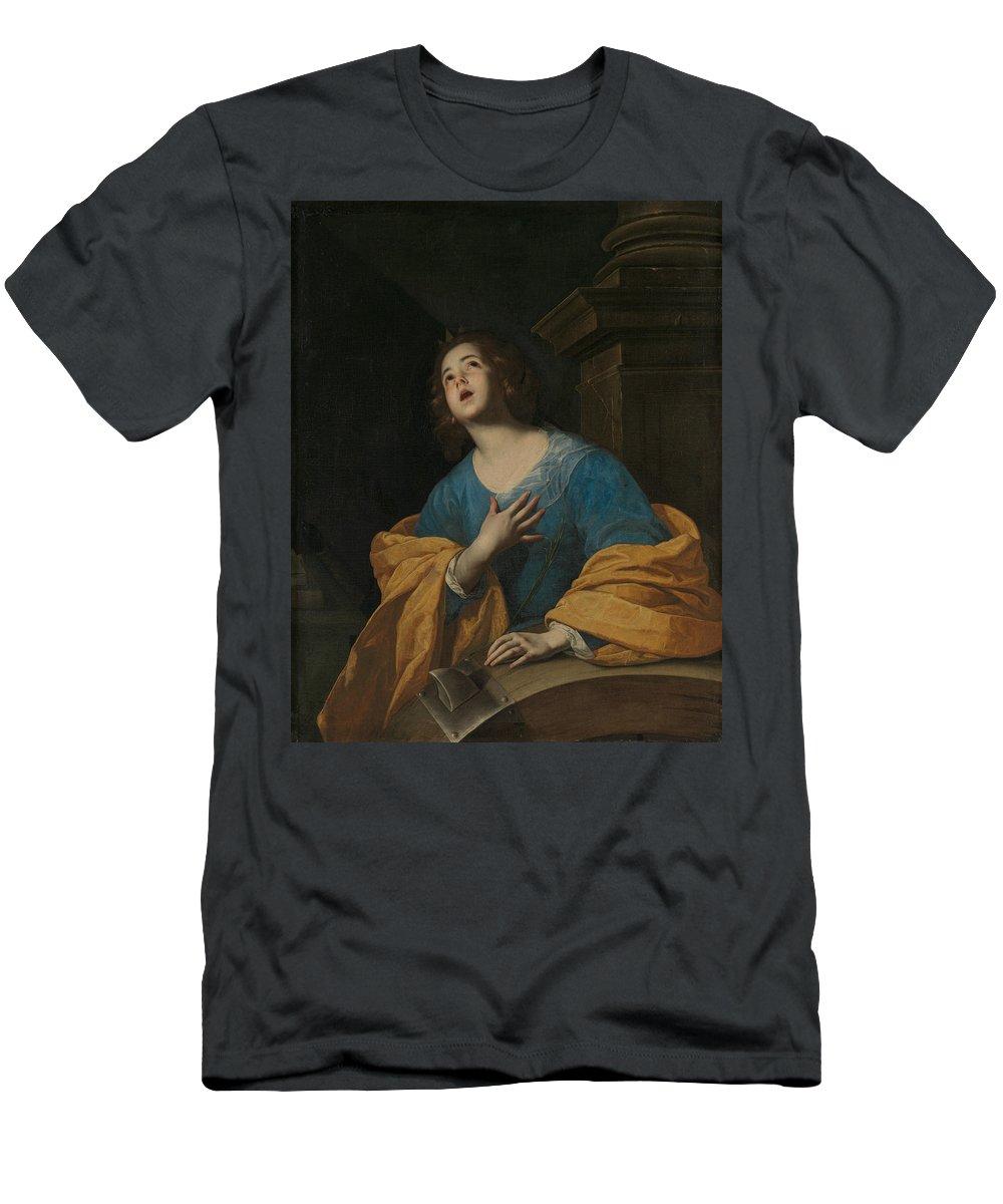 17th Century Painters T-Shirt featuring the painting Saint Catherine Of Alexandria by Workshop of Bernardo Cavallino
