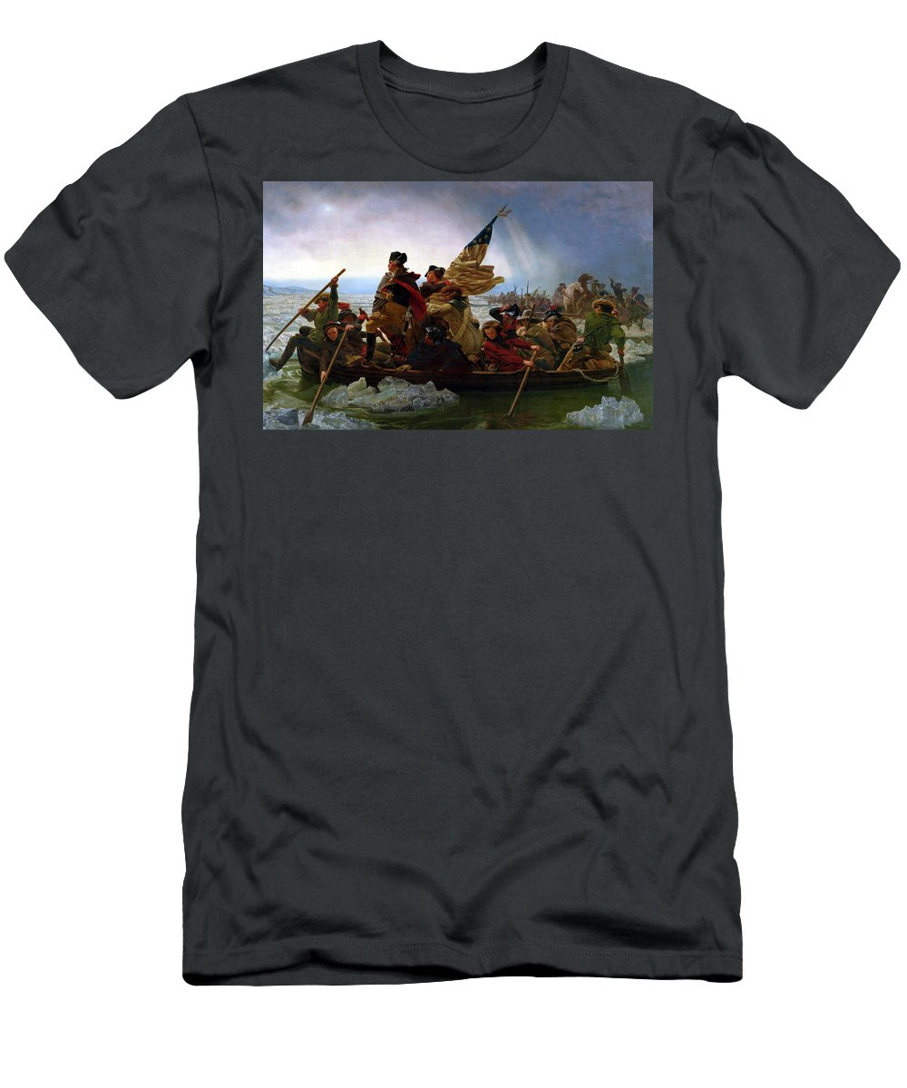 George Washington T-Shirt featuring the painting Washington Crossing the Delaware by Emanuel Leutze