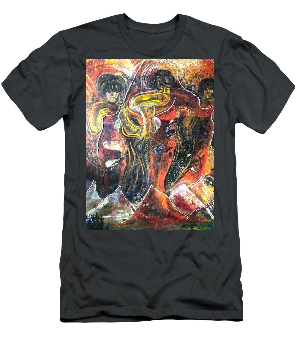 Women T-Shirt featuring the painting Ain't No Mountain High Enough by Peggy Blood