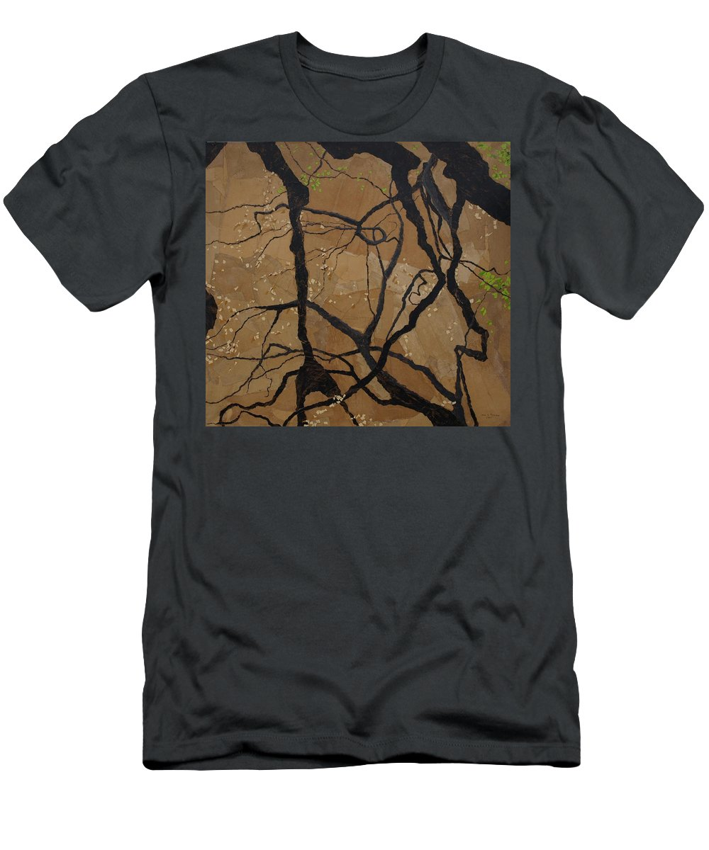 Abstract Tree Branches T-Shirt featuring the painting Arboretum Dancers by Leah Tomaino