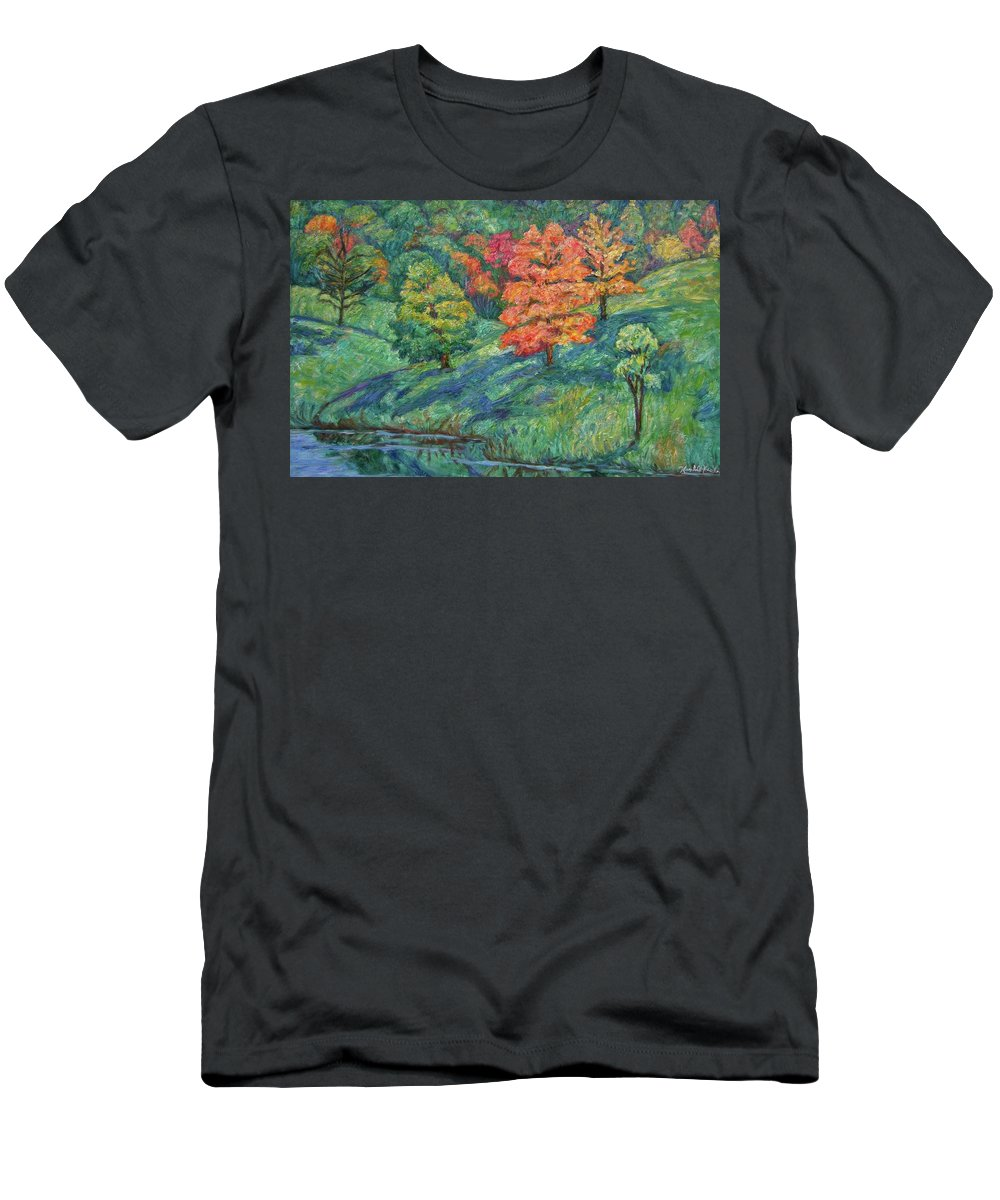 Landscape T-Shirt featuring the painting Autumn Pond by Kendall Kessler