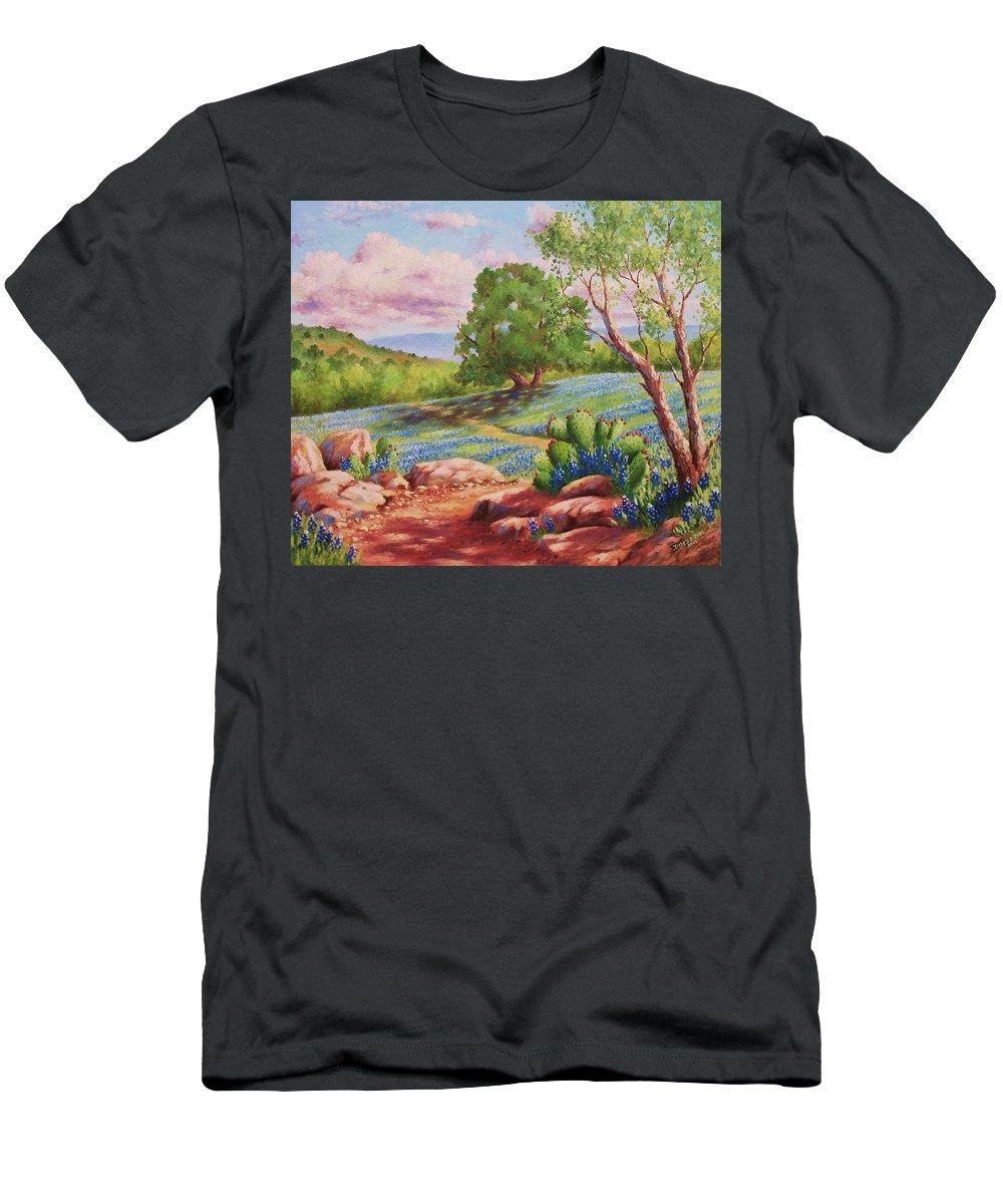 Bluebonnet T-Shirt featuring the painting Bluebonnet Trail by David G Paul
