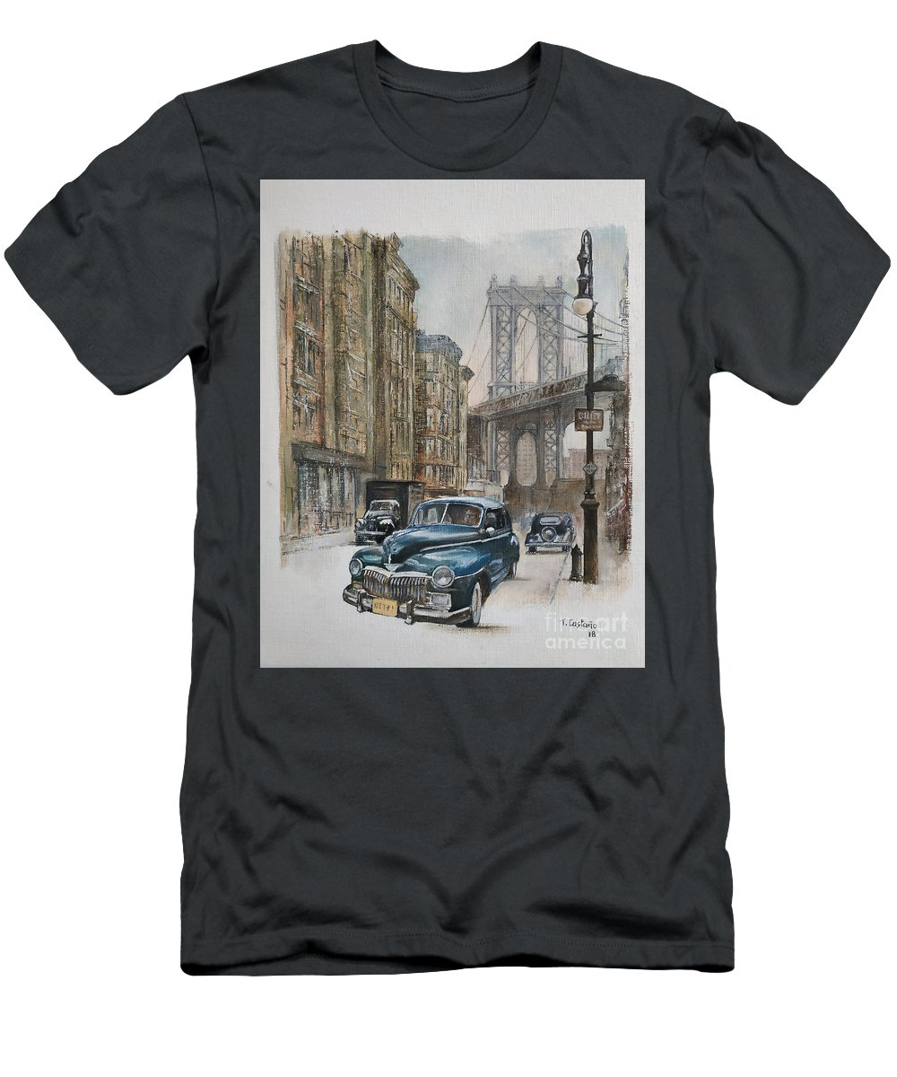 Blue Car T-Shirt featuring the painting Brooklyn bridge by Tomas Castano