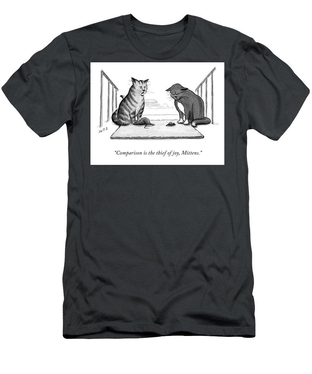 Comparison Is The Thief Of Joy T-Shirt featuring the drawing Comparison is the Thief of Joy by Julia Suits