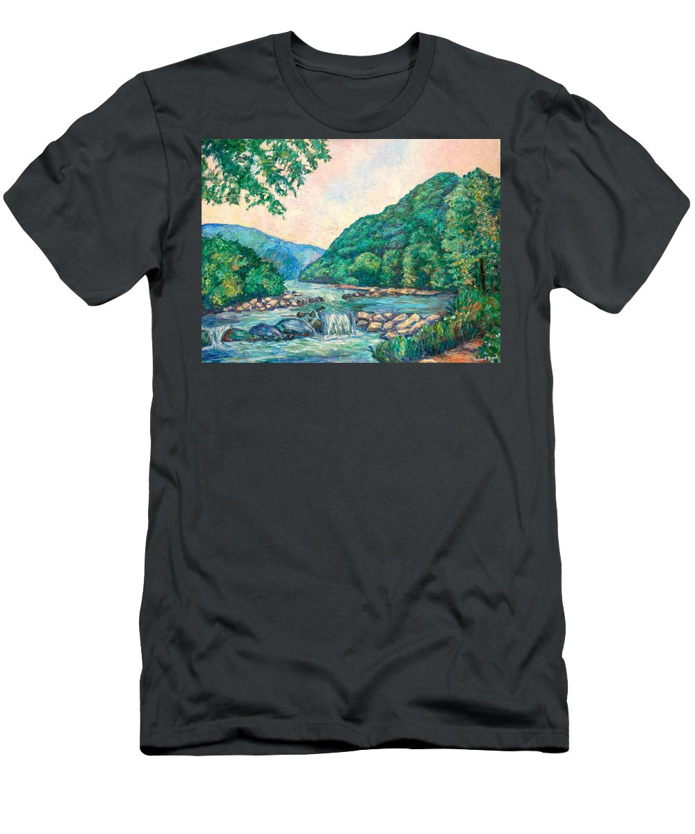 Landscape T-Shirt featuring the painting Evening River Scene by Kendall Kessler