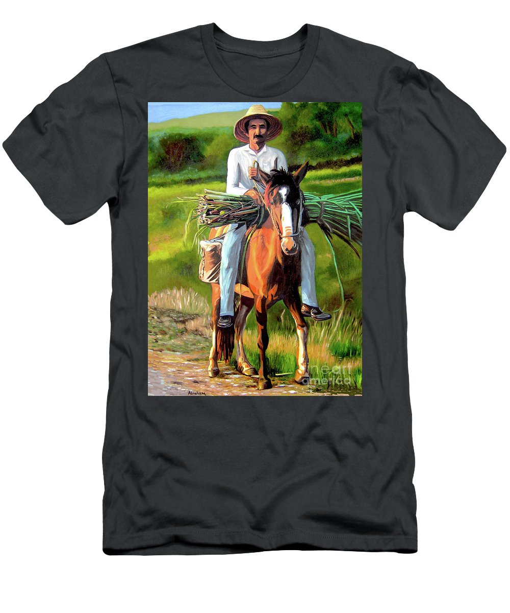 Cuban Art T-Shirt featuring the painting Farmer On A Horse by Jose Manuel Abraham