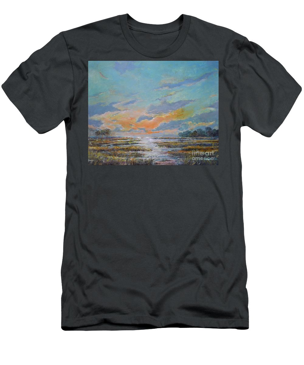Florida Marshland Painting T-Shirt featuring the painting Golden Florida Dusk by Sinisa Saratlic