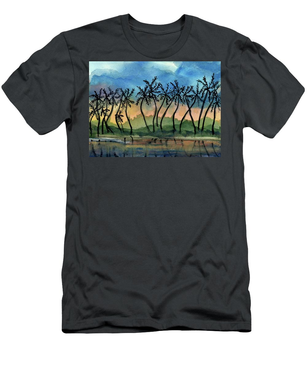 Evening T-Shirt featuring the painting Good Night Hawaii Two by Randy Sprout