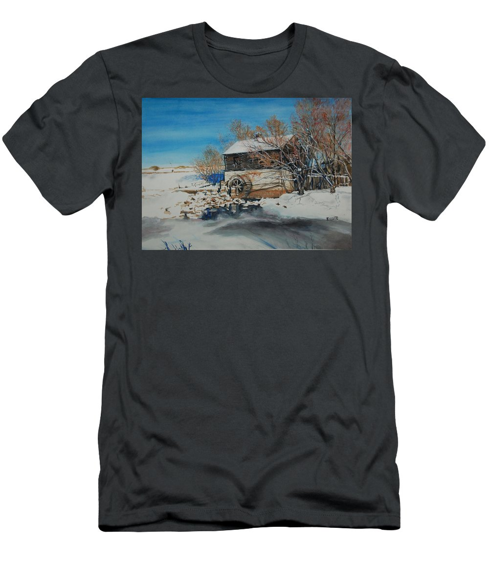 Mill T-Shirt featuring the painting Grants Old Mill by Susan Moore