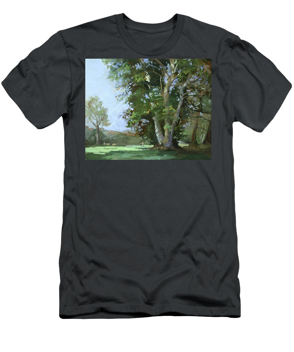 Golf Courses T-Shirt featuring the painting Guardian of the Green by Betty Jean Billups