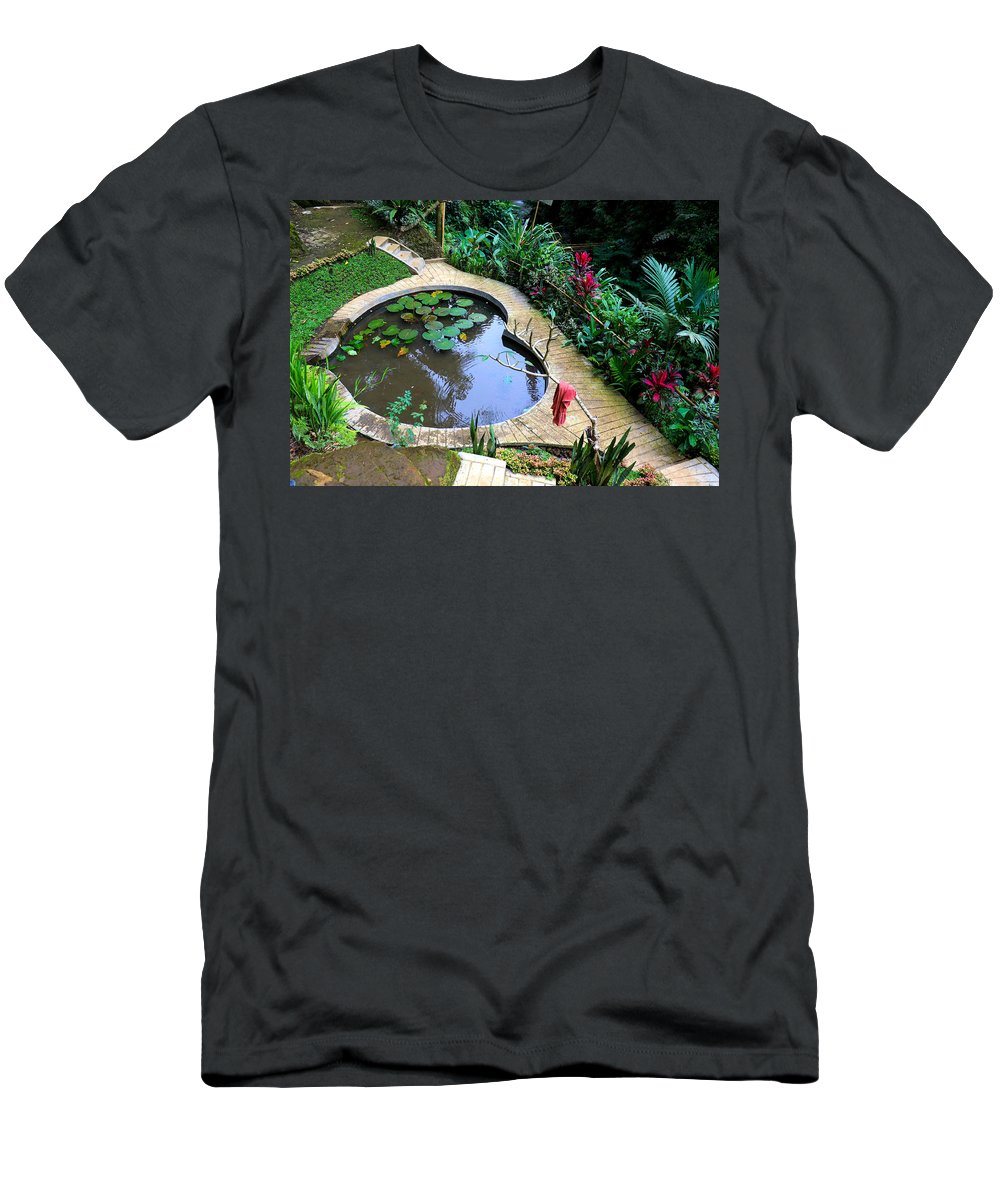 Heart T-Shirt featuring the digital art Heart-shaped pond with water lilies by Worldvibes1