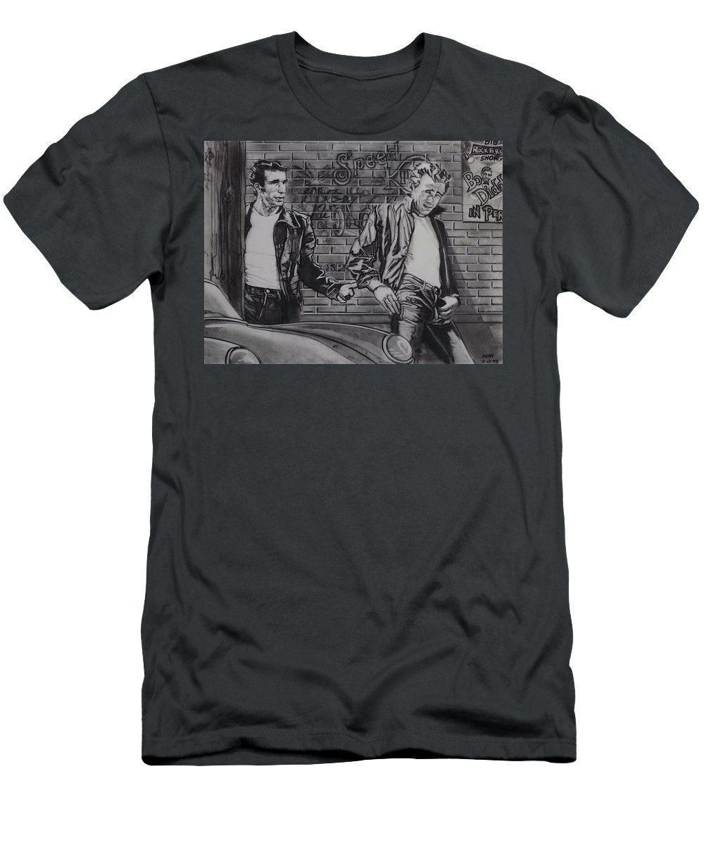 Charcoal On Paper T-Shirt featuring the drawing James Dean Meets The Fonz by Sean Connolly