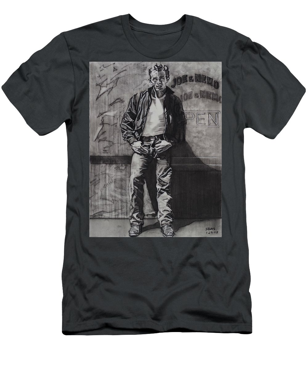 Charcoal On Paper T-Shirt featuring the drawing James Dean by Sean Connolly
