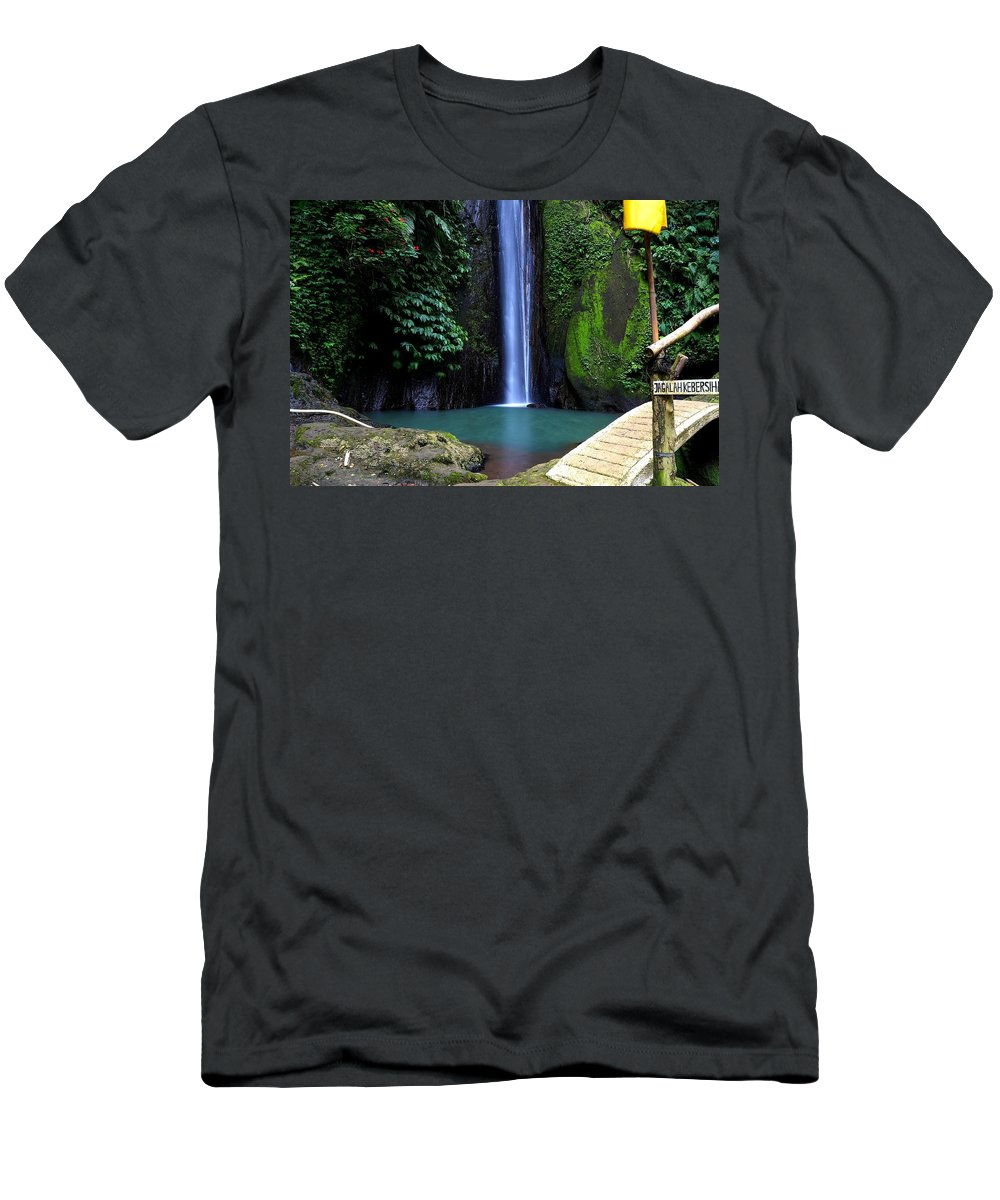 Waterfall T-Shirt featuring the digital art Lonely waterfall by Worldvibes1