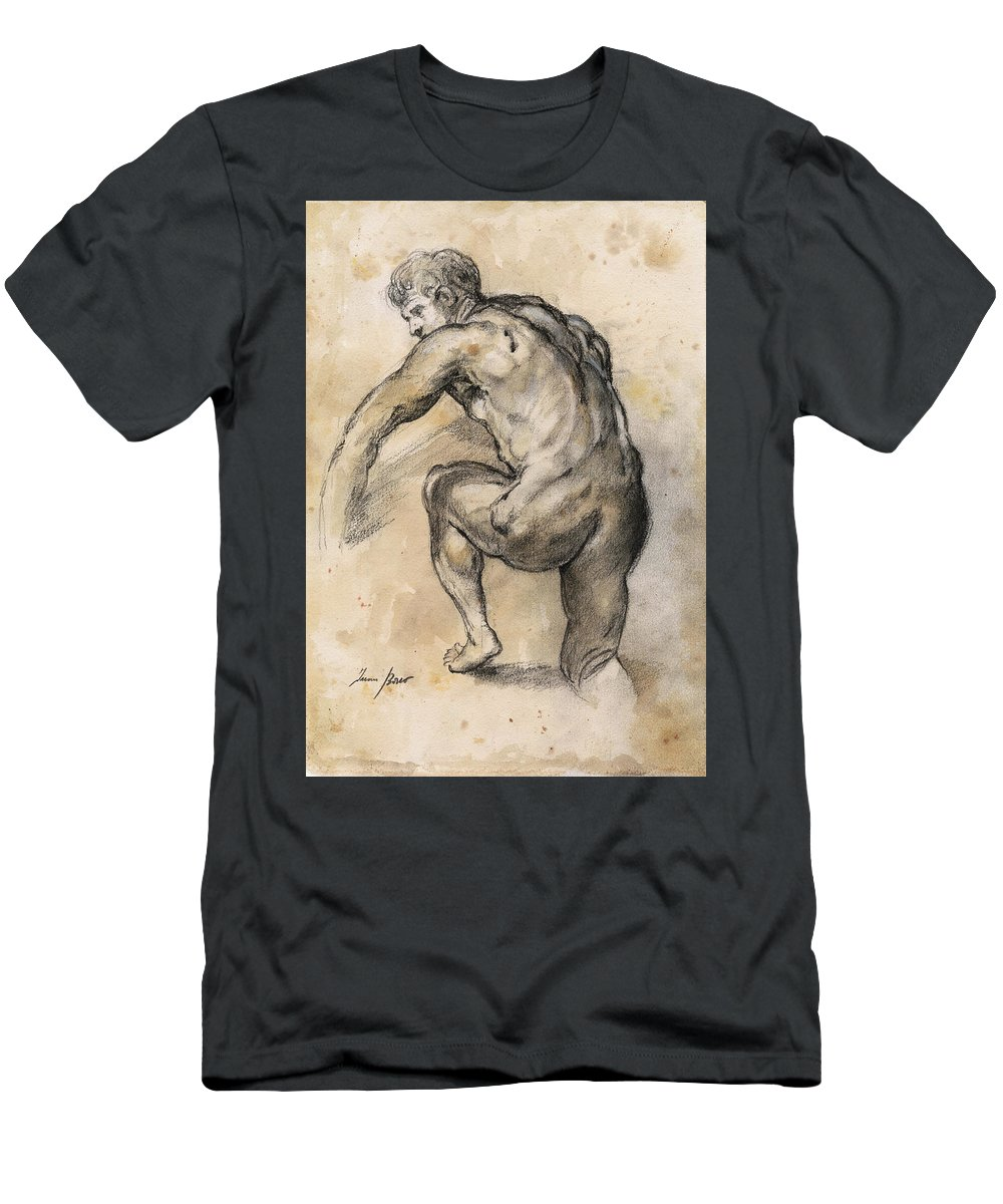 Nude Art T-Shirt featuring the painting Male nude drawing by Juan Bosco