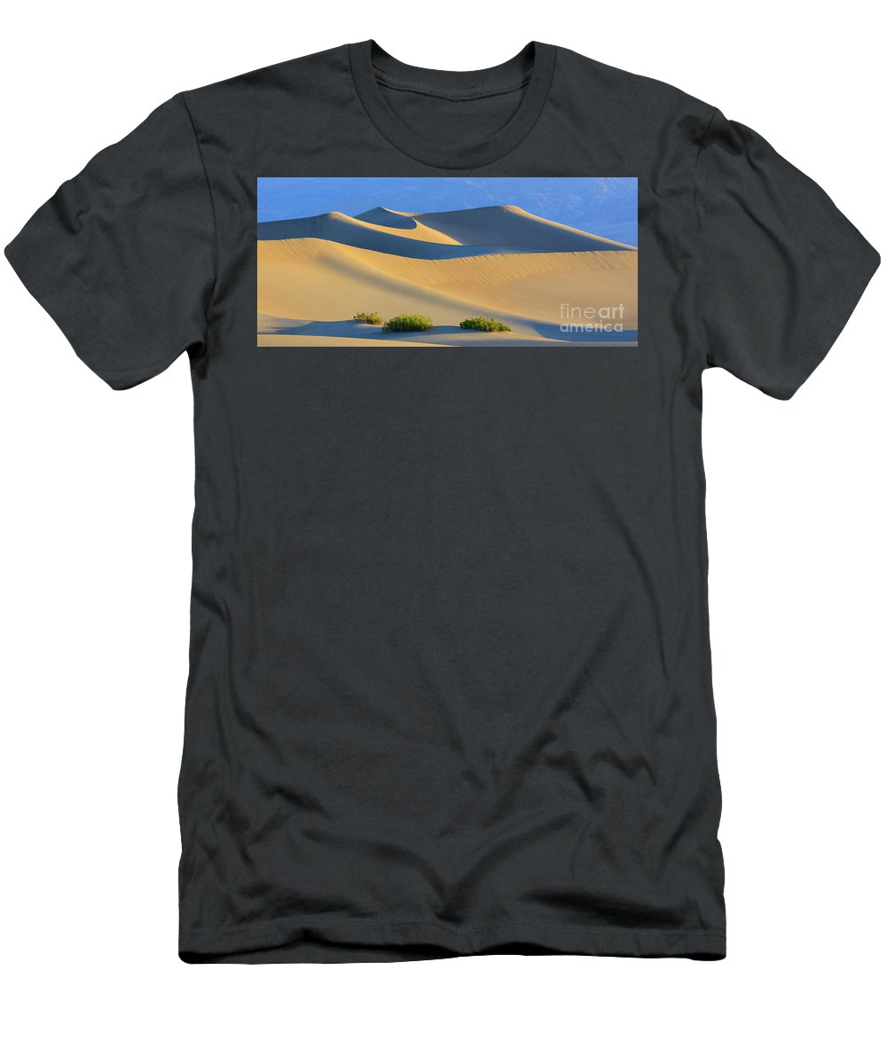 Bush T-Shirt featuring the photograph Mesquite Flat Sand Dunes In Death Valley National Park by Henk Meijer Photography