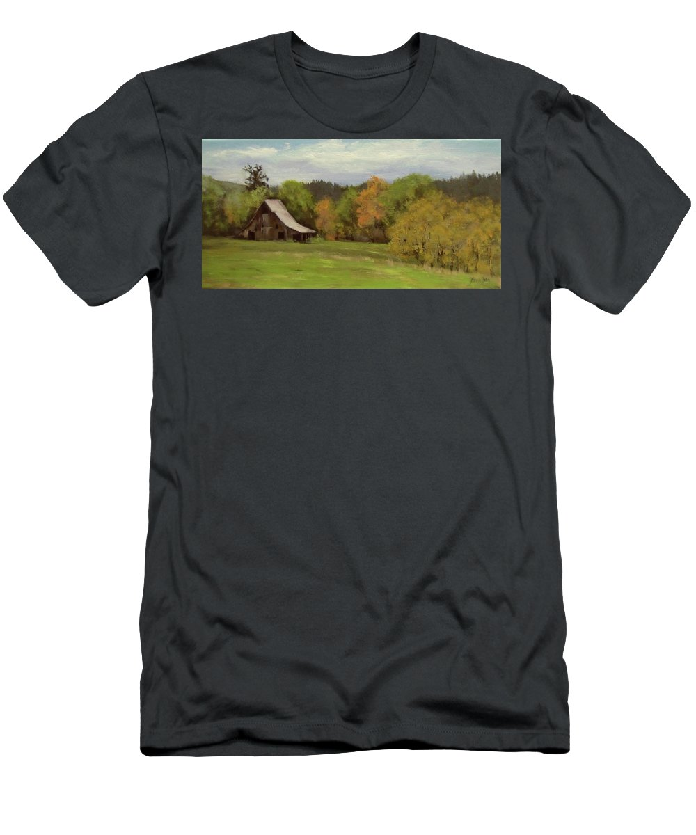 Barn T-Shirt featuring the painting Mildred Kanipe Equestrian Park by Karen Ilari