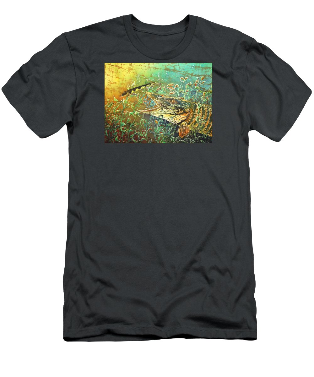 Musky T-Shirt featuring the painting Musky on the Run by Sue Duda