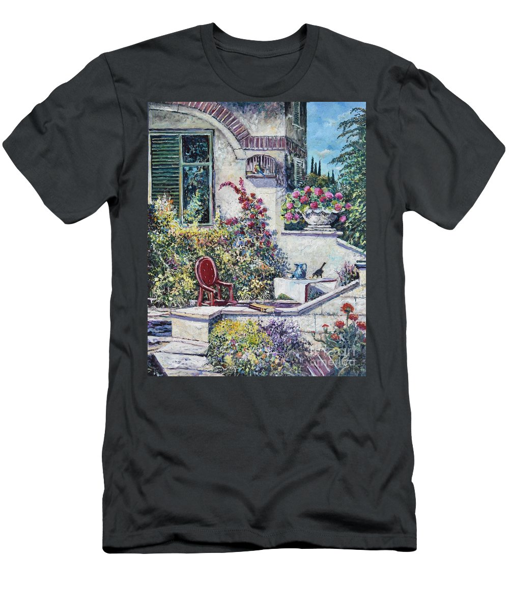 Original Painting T-Shirt featuring the painting On The Porch by Sinisa Saratlic