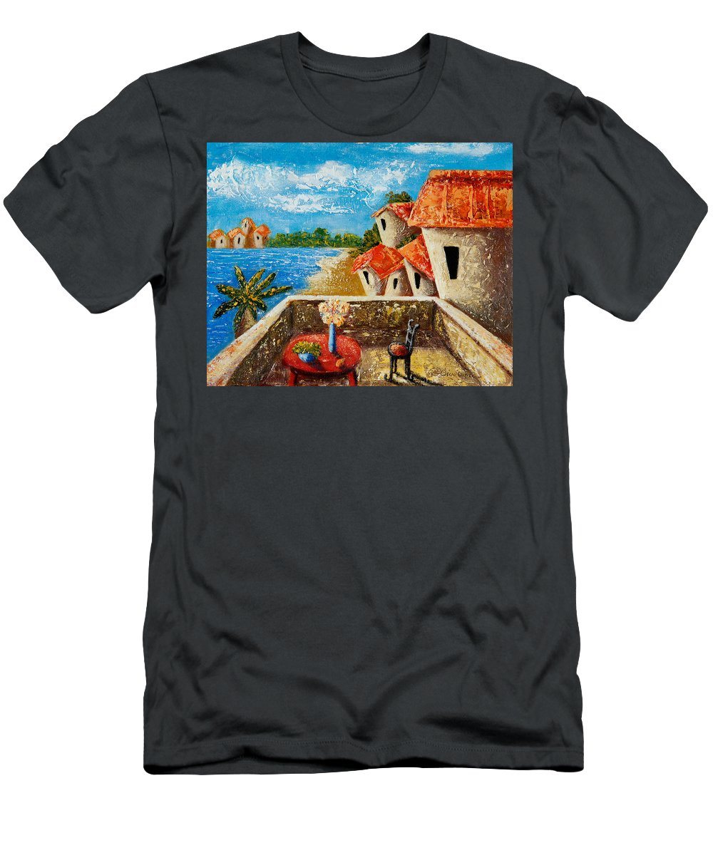 Landscape T-Shirt featuring the painting Playa Gorda by Oscar Ortiz