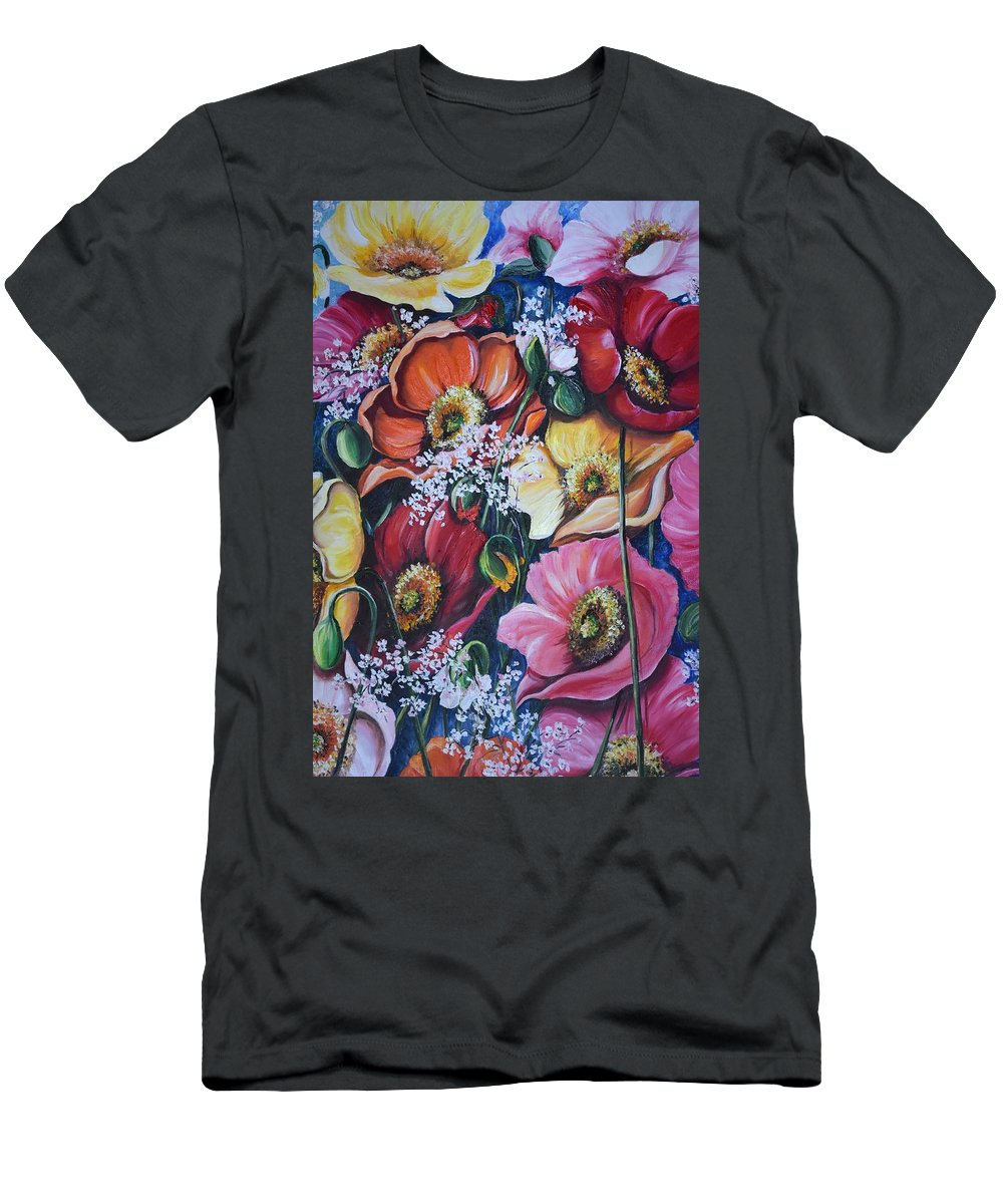 Poppies T-Shirt featuring the painting Poppies Delight by Karin Dawn Kelshall- Best