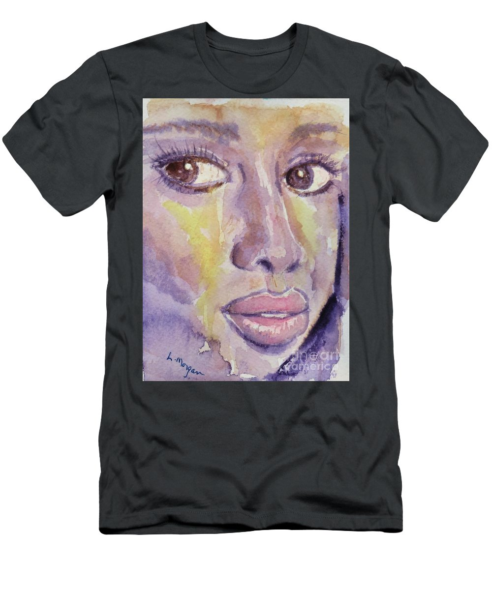 Portrait T-Shirt featuring the painting Portrait in Purple by Laurie Morgan