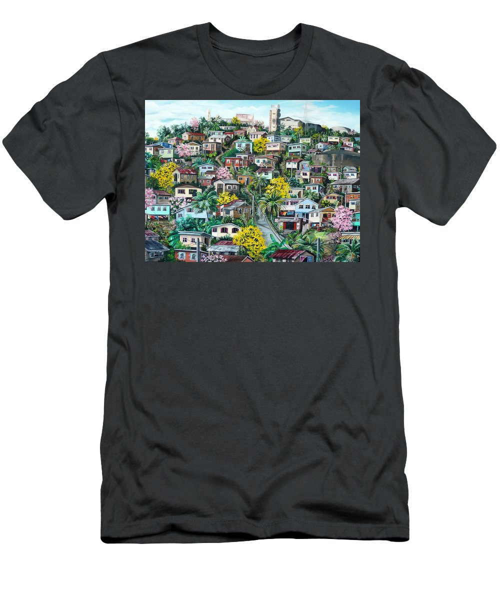 Landscape Painting Cityscape Painting Original Oil Painting  Blossoming Poui Tree Painting Lavantille Hill Trinidad And Tobago Painting Caribbean Painting Tropical Painting T-Shirt featuring the painting Poui On The Hill by Karin Dawn Kelshall- Best