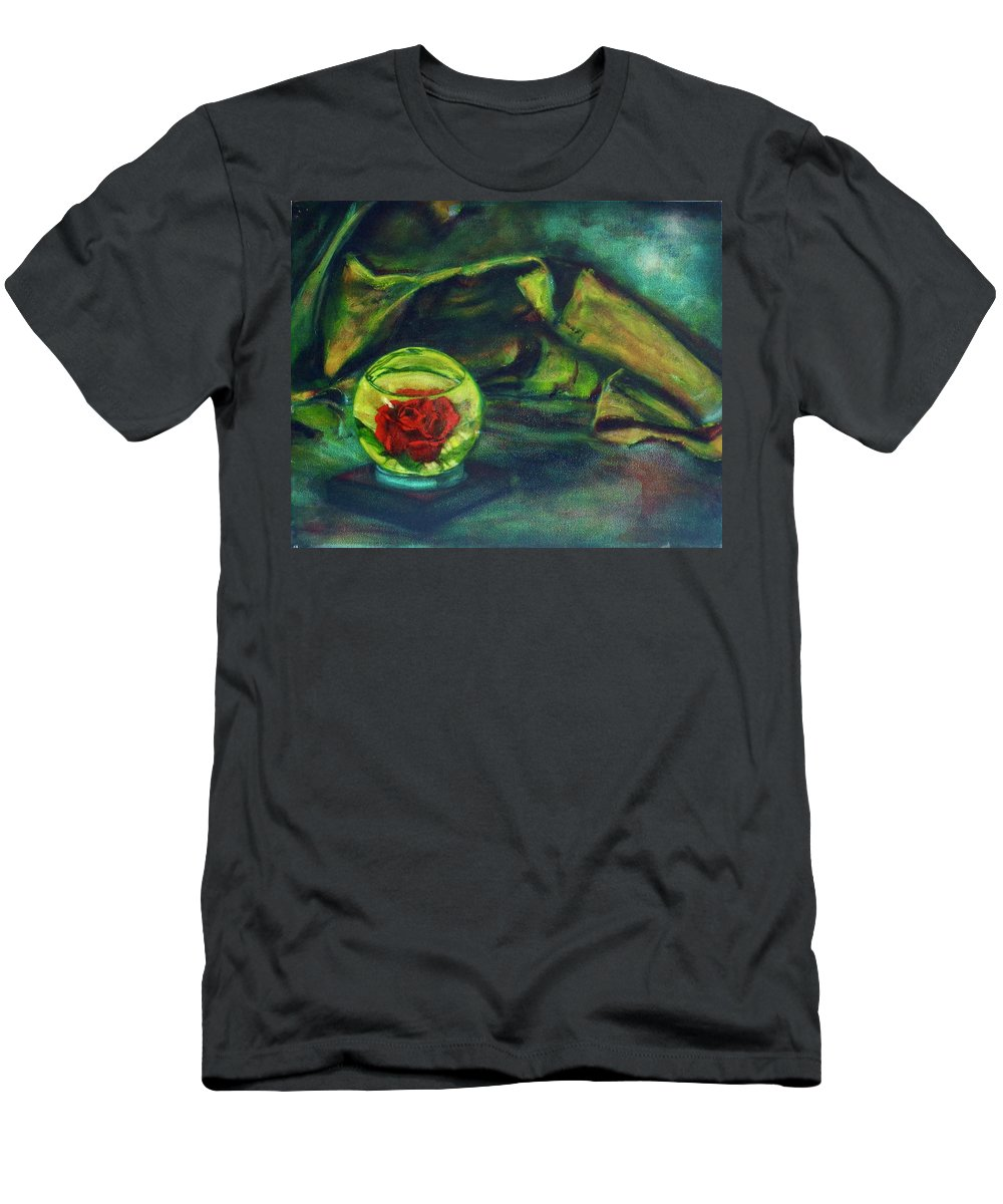 Oil Painting On Canvas T-Shirt featuring the painting Preserved Rose . . Draped Canvas by Sean Connolly