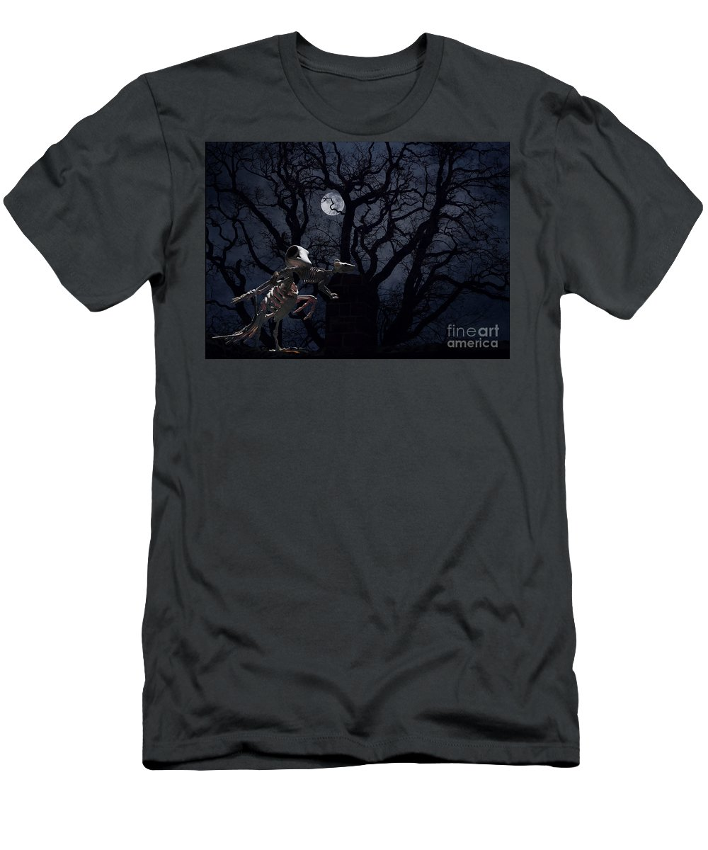 Raven T-Shirt featuring the photograph Raven and Rat Skeleton in Moonlight - Halloween by Colleen Cornelius