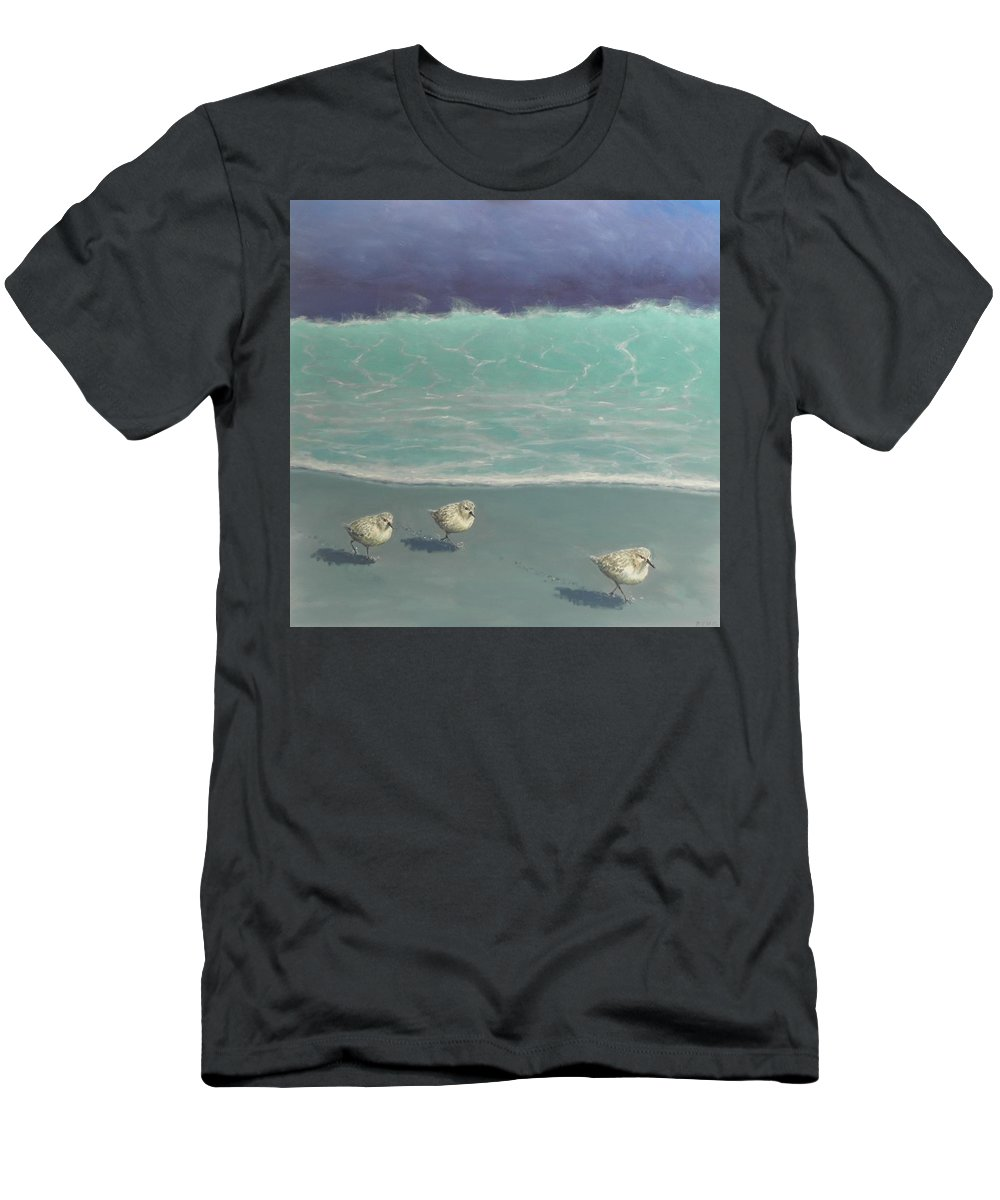 Sandpipers T-Shirt featuring the painting Sandpipers by Paul Emig
