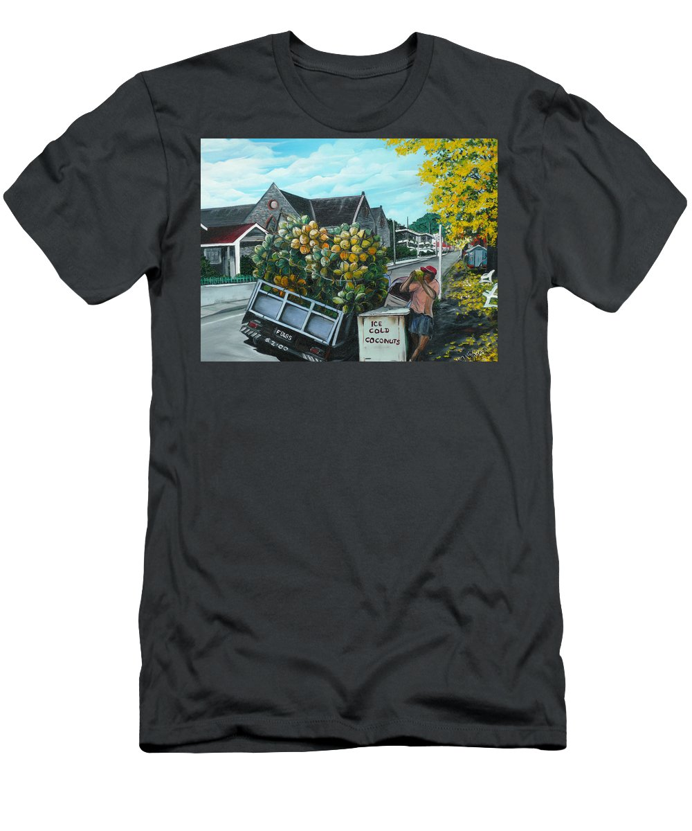 Caribbean Painting Coconuts Vendor Trinidad And Tobago Painting Savannah Paintings  Poui Tree Painting Tropical Painting T-Shirt featuring the painting Savannah Coconut Vendor by Karin Dawn Kelshall- Best