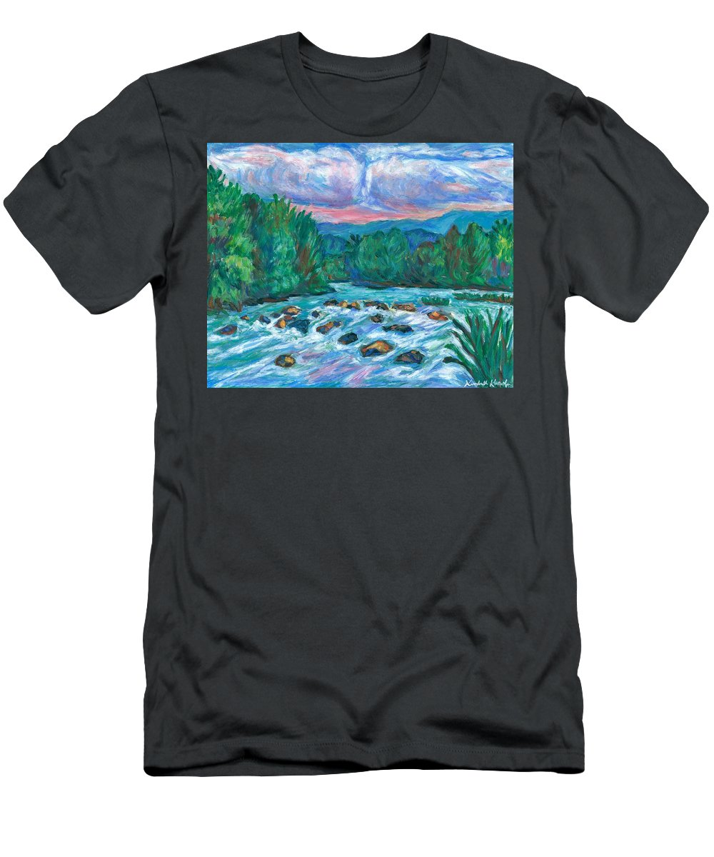 Landscape T-Shirt featuring the painting Stepping Stones on the New River by Kendall Kessler