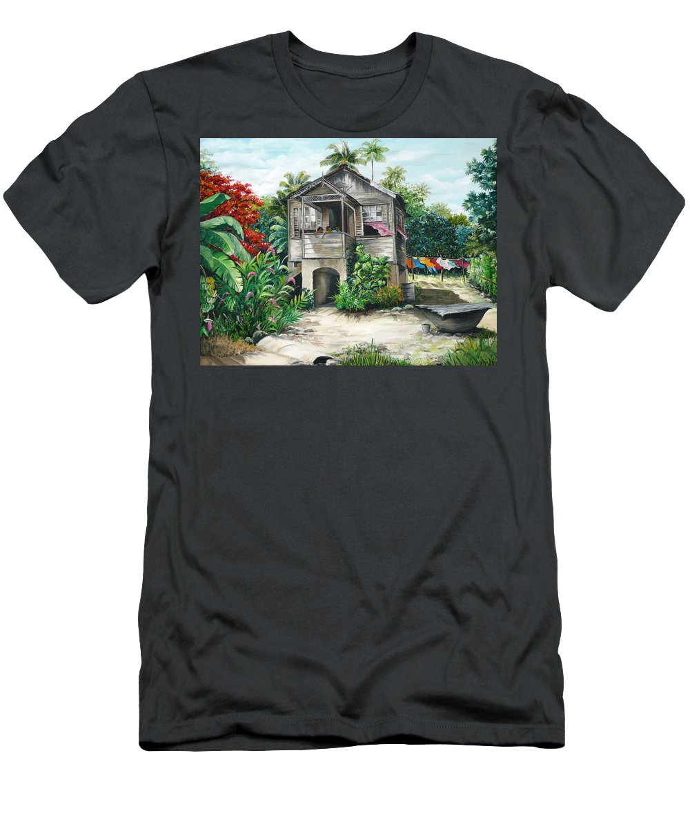Landscape Painting Caribbean Painting House Painting Tobago Painting Trinidad Painting Tropical Painting Flamboyant Painting Banana Painting Trees Painting Original Painting Of Typical Country House In Trinidad And Tobago T-Shirt featuring the painting Sweet Island Life by Karin Dawn Kelshall- Best
