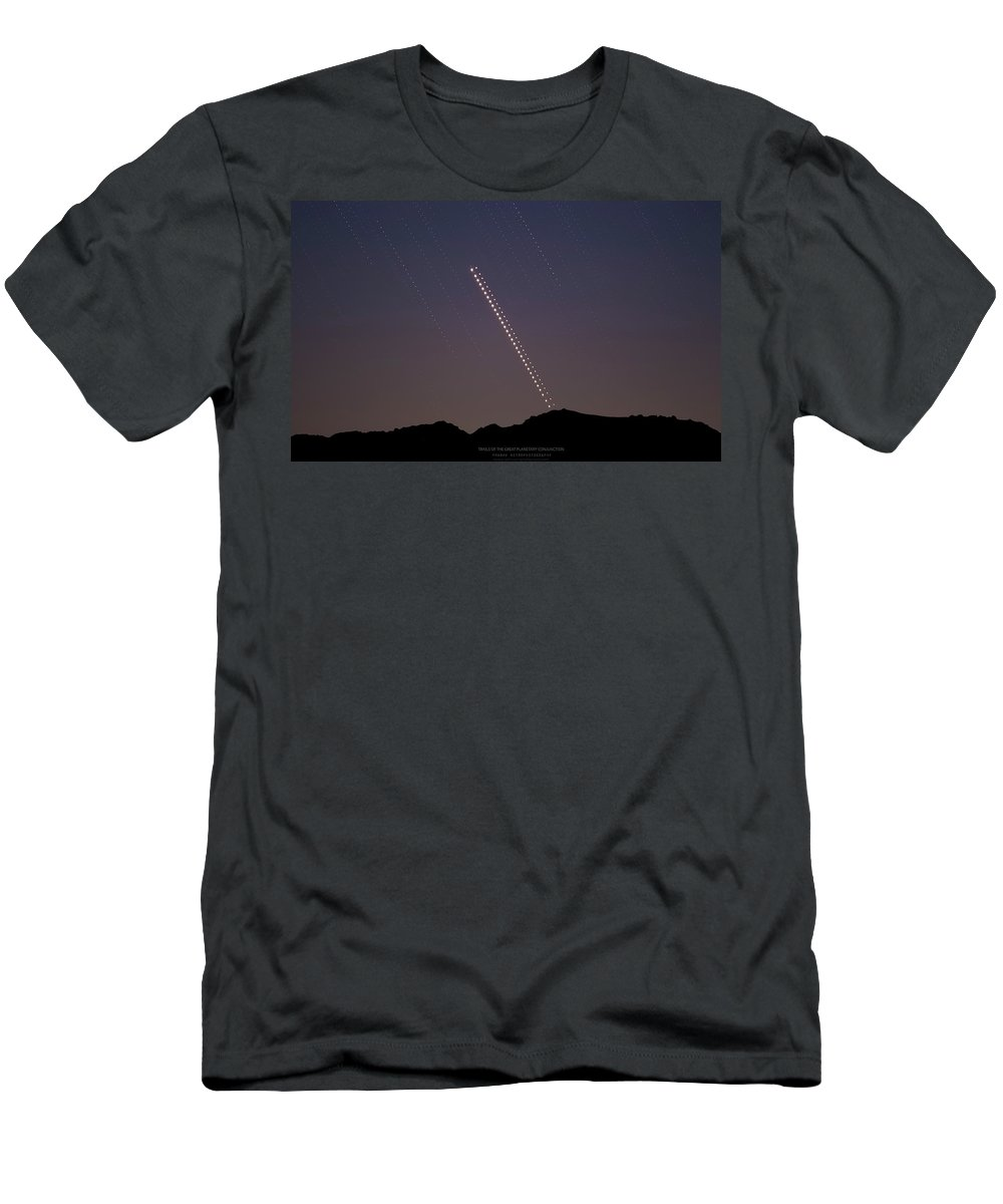 T-Shirt featuring the photograph Trails of the Great Planetary Conjunction by Prabhu Astrophotography