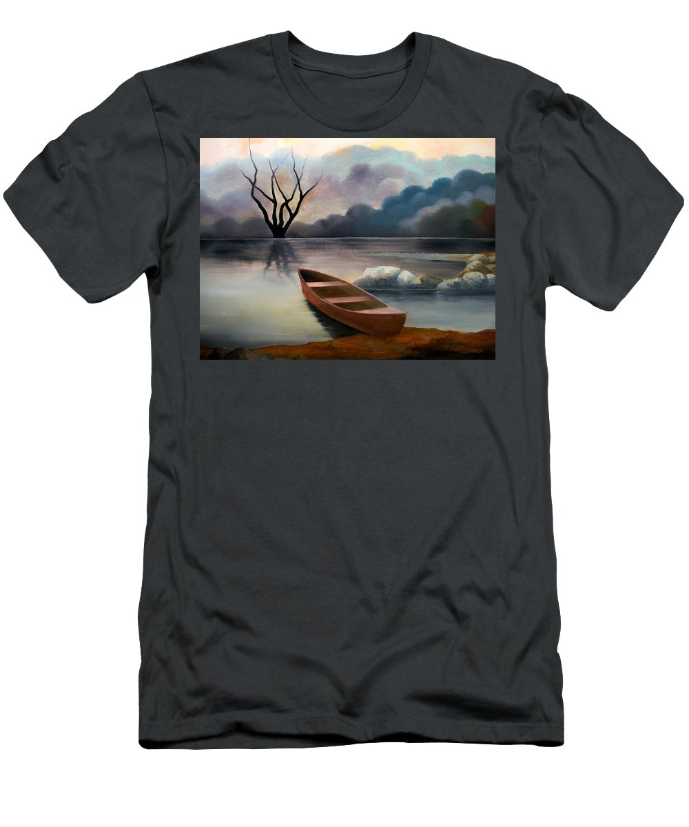 Duck T-Shirt featuring the painting Tranquility by Sergey Bezhinets