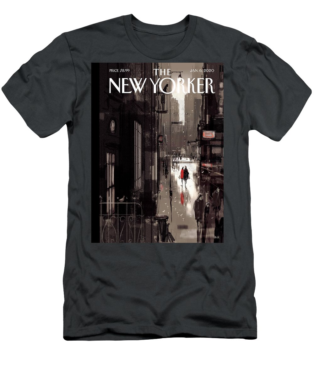 Twilight Avenue T-Shirt featuring the drawing Twilight Avenue by Pascal Campion