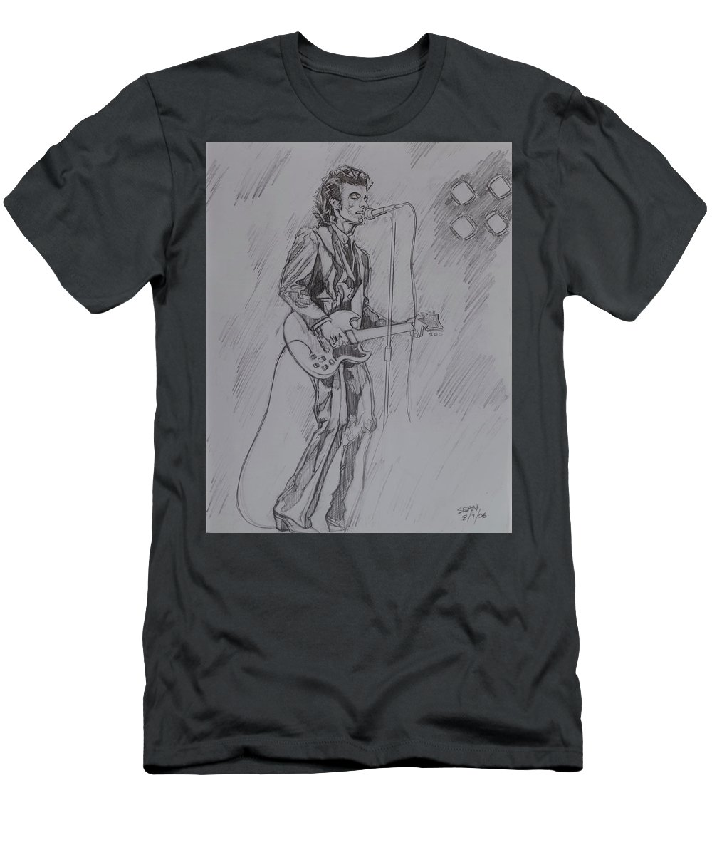 Pencil T-Shirt featuring the drawing Willy DeVille - Steady Drivin' Man by Sean Connolly