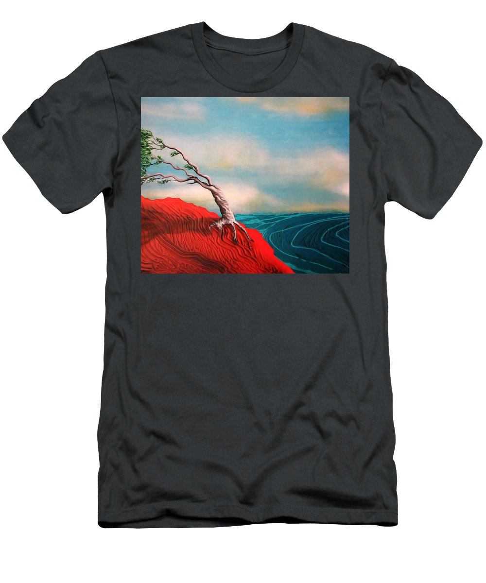 Ocean View T-Shirt featuring the painting Wind swept tree by Joan Stratton