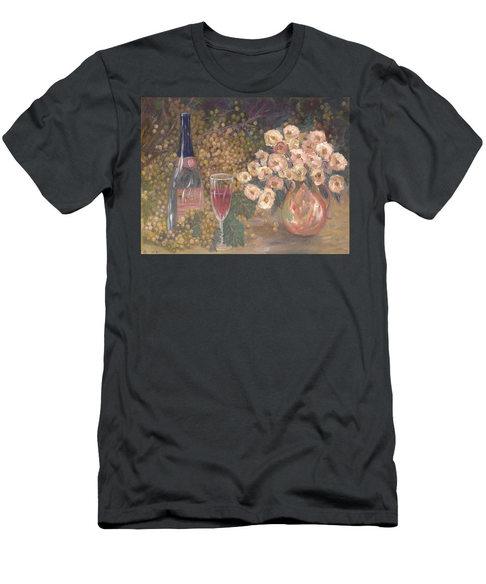 Stilllife; Floral; Wine T-Shirt featuring the painting Wine And Roses by Ben Kiger