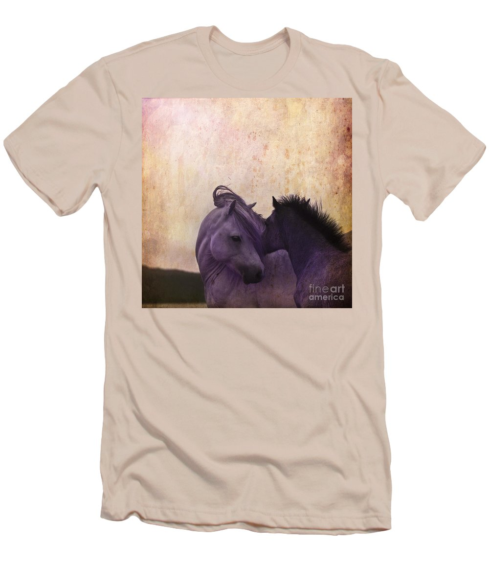 Horse Men's T-Shirt (Athletic Fit) featuring the photograph Cuddle Me by Angel Ciesniarska