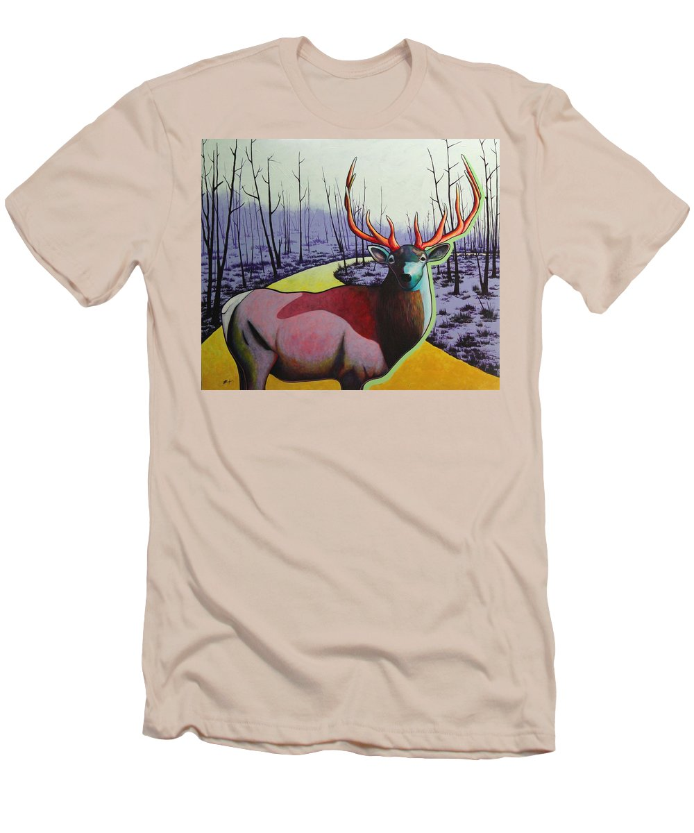 Wildlife In Yellowstone Park Men's T-Shirt (Athletic Fit) featuring the painting A Close Encounter In Yellowstone by Joe Triano