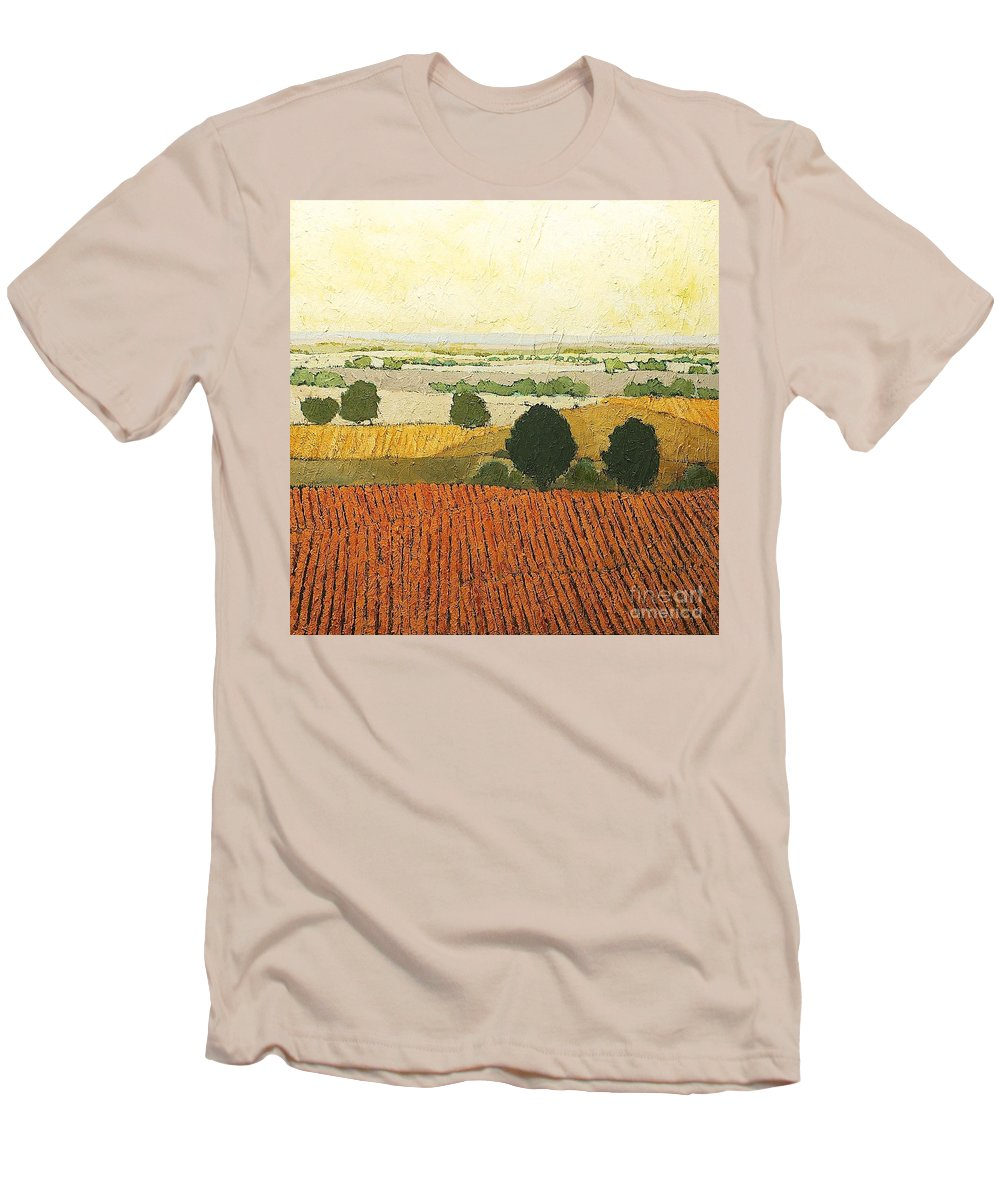 Landscape Men's T-Shirt (Athletic Fit) featuring the painting After Harvest by Allan P Friedlander
