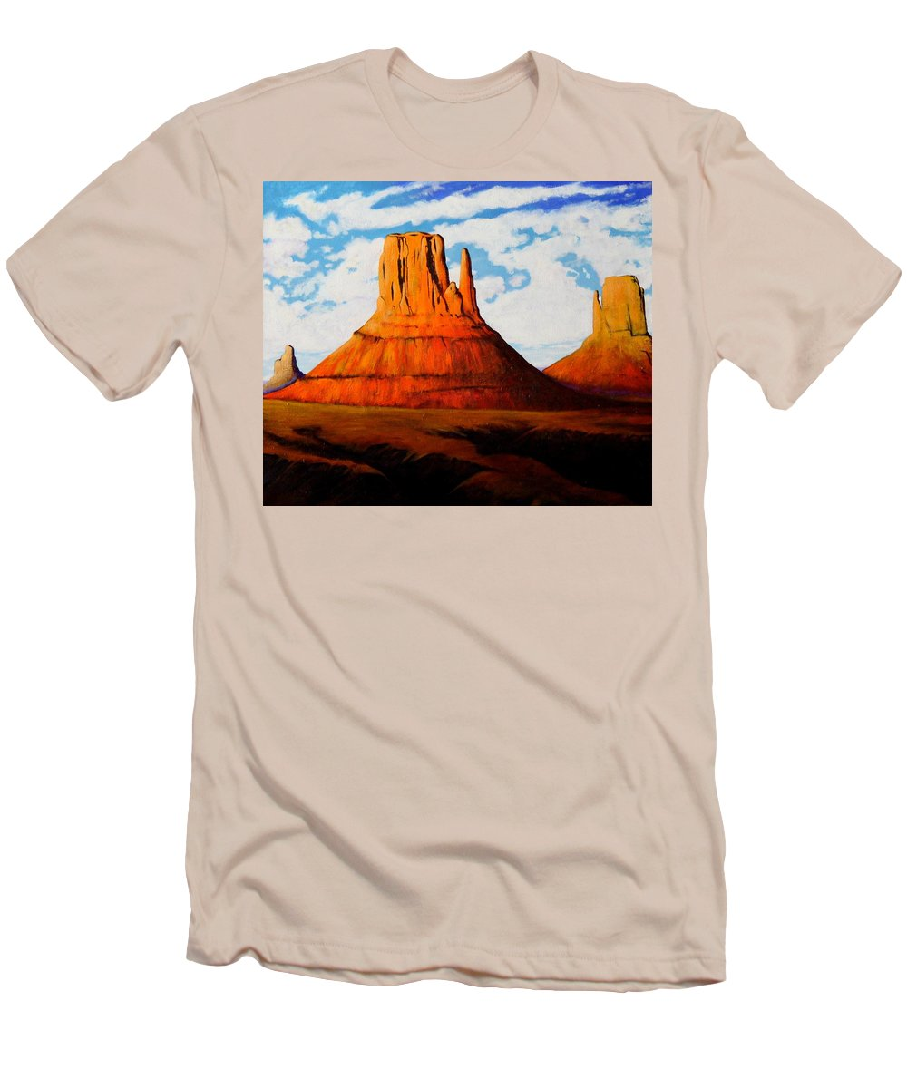 Landscape Of Western Usa Men's T-Shirt (Athletic Fit) featuring the painting Ancient Land Monument Valley by Joe Triano