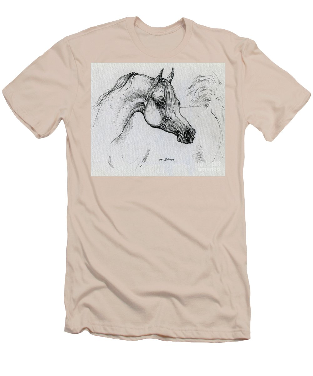 Horse Men's T-Shirt (Athletic Fit) featuring the drawing Arabian Horse Drawing 28 by Angel Tarantella