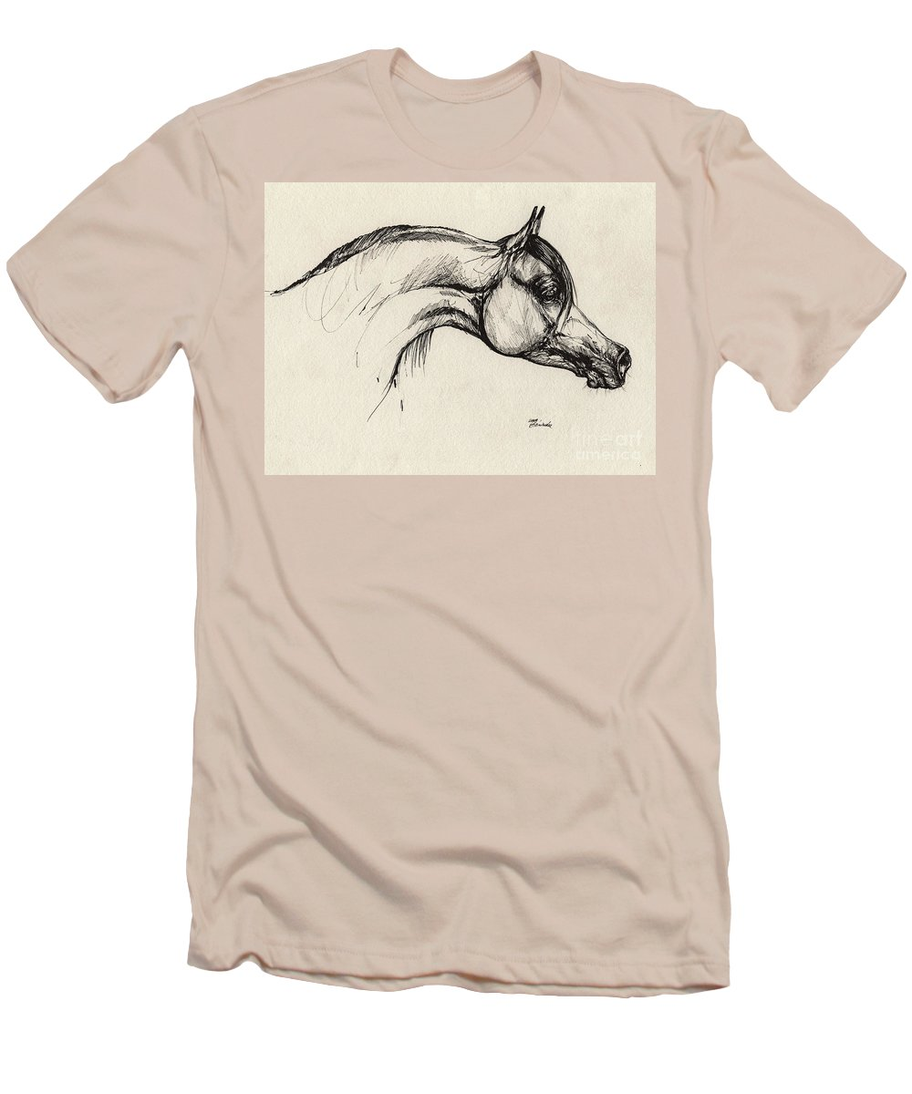 Horse Men's T-Shirt (Athletic Fit) featuring the drawing Arabian Horse Drawing 30 by Angel Tarantella